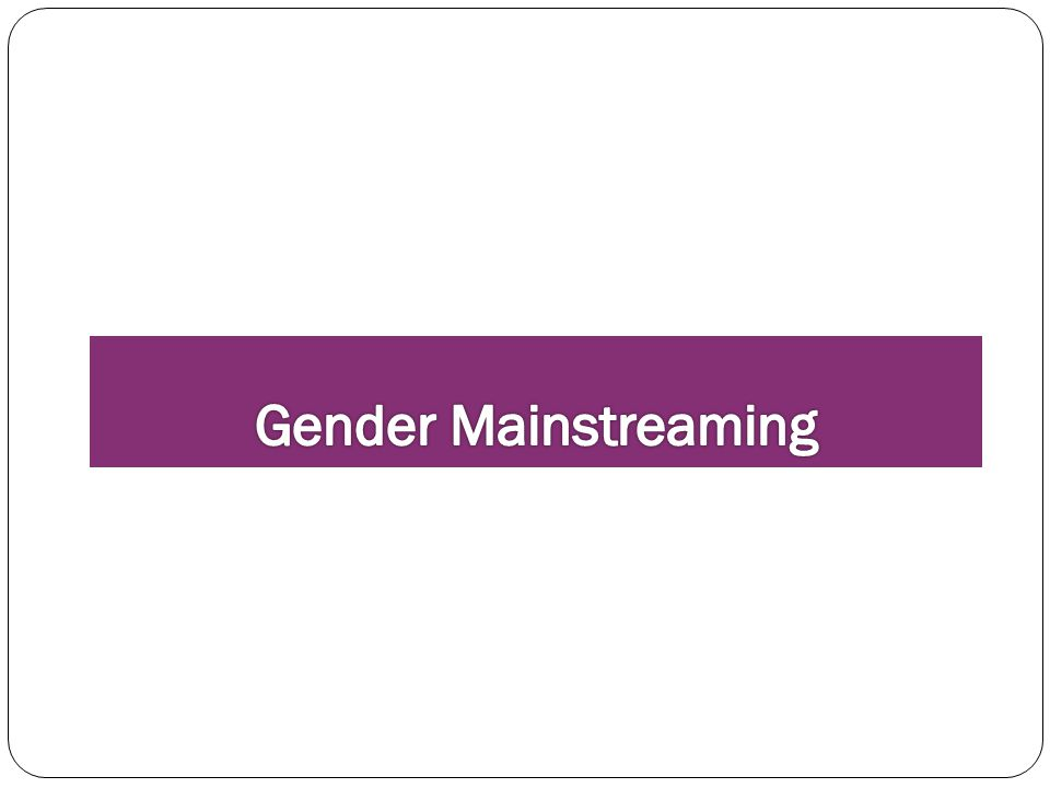 Gender Mainstreaming