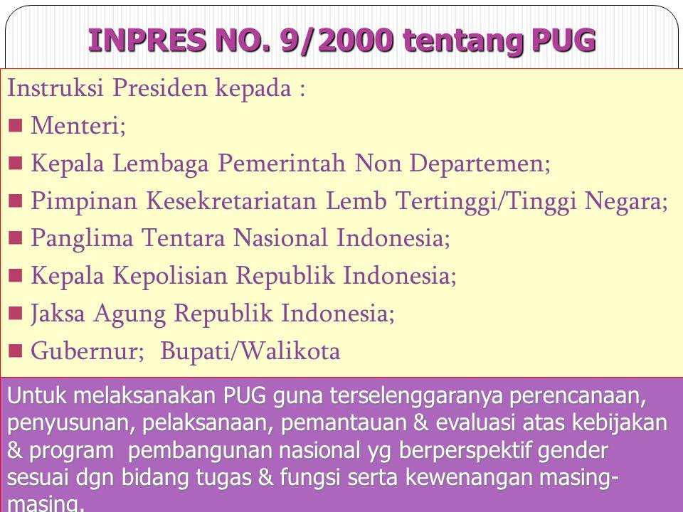 INPRES NO. 9/2000 tentang PUG Instruksi Presiden kepada : Menteri;