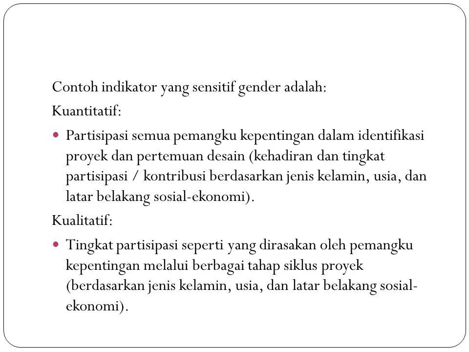 Contoh indikator yang sensitif gender adalah: