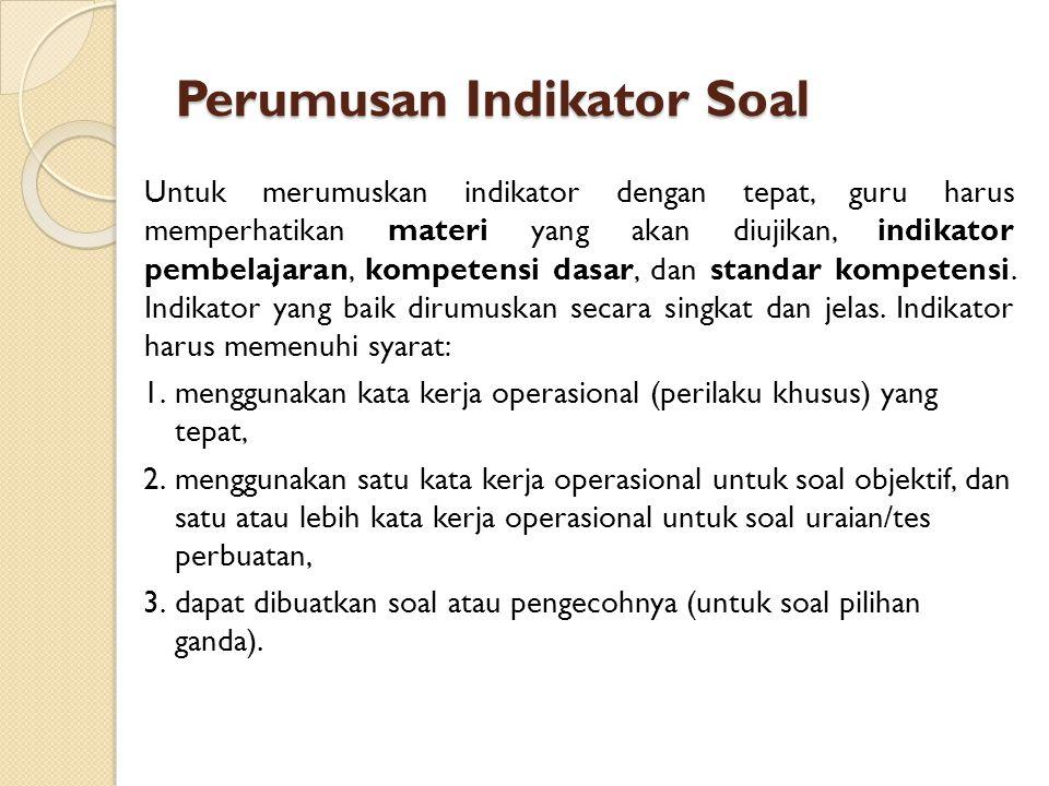 Perumusan Indikator Soal