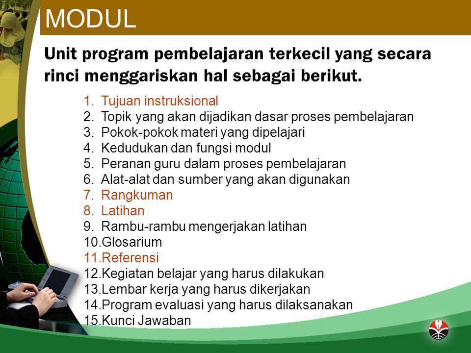 MODUL Unit program pembelajaran terkecil yang secara rinci menggariskan hal sebagai berikut. Tujuan instruksional.