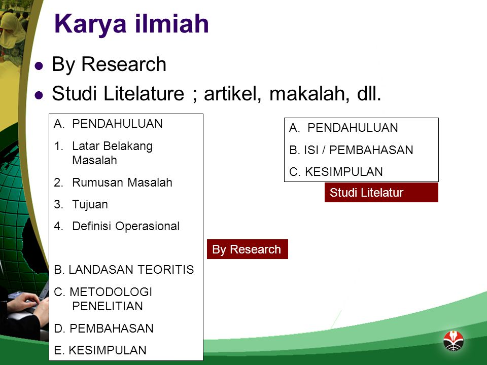 Karya ilmiah By Research Studi Litelature ; artikel, makalah, dll.
