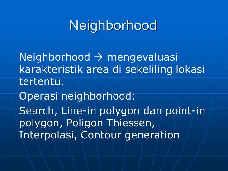 Neighborhood Neighborhood  mengevaluasi karakteristik area di sekeliling lokasi tertentu. Operasi neighborhood: