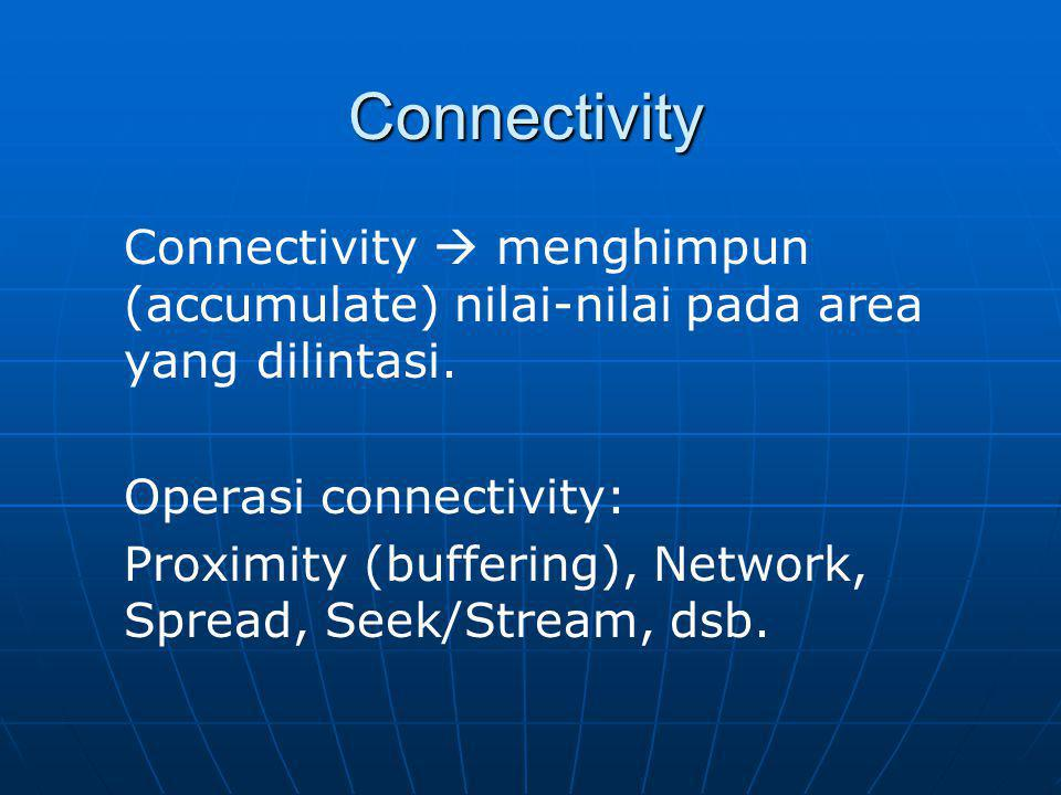 Connectivity Connectivity  menghimpun (accumulate) nilai-nilai pada area yang dilintasi. Operasi connectivity:
