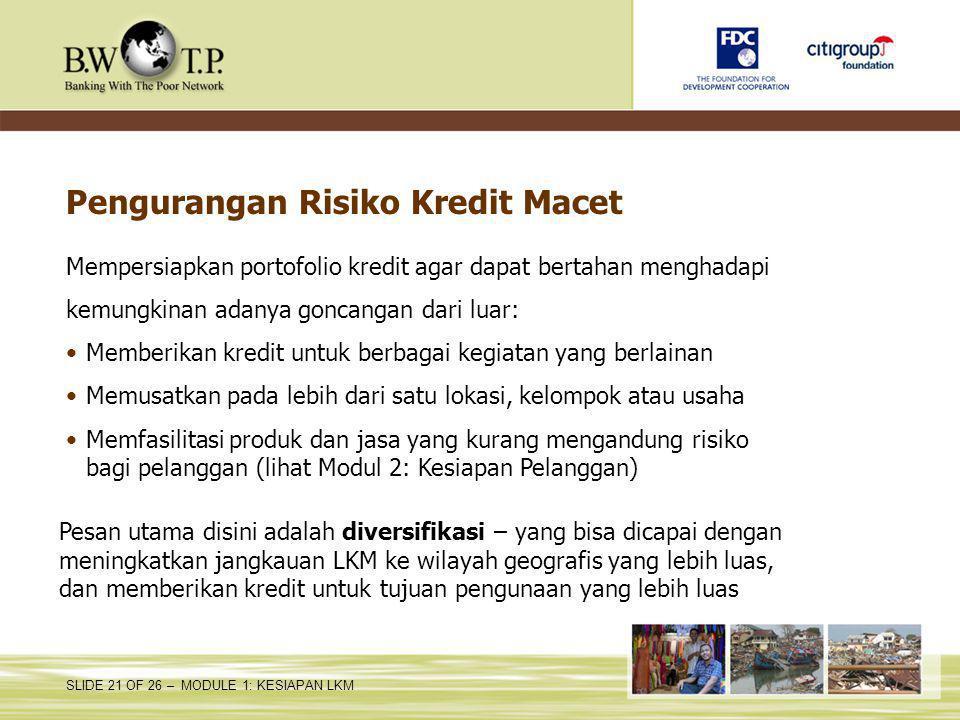 Pengurangan Risiko Kredit Macet