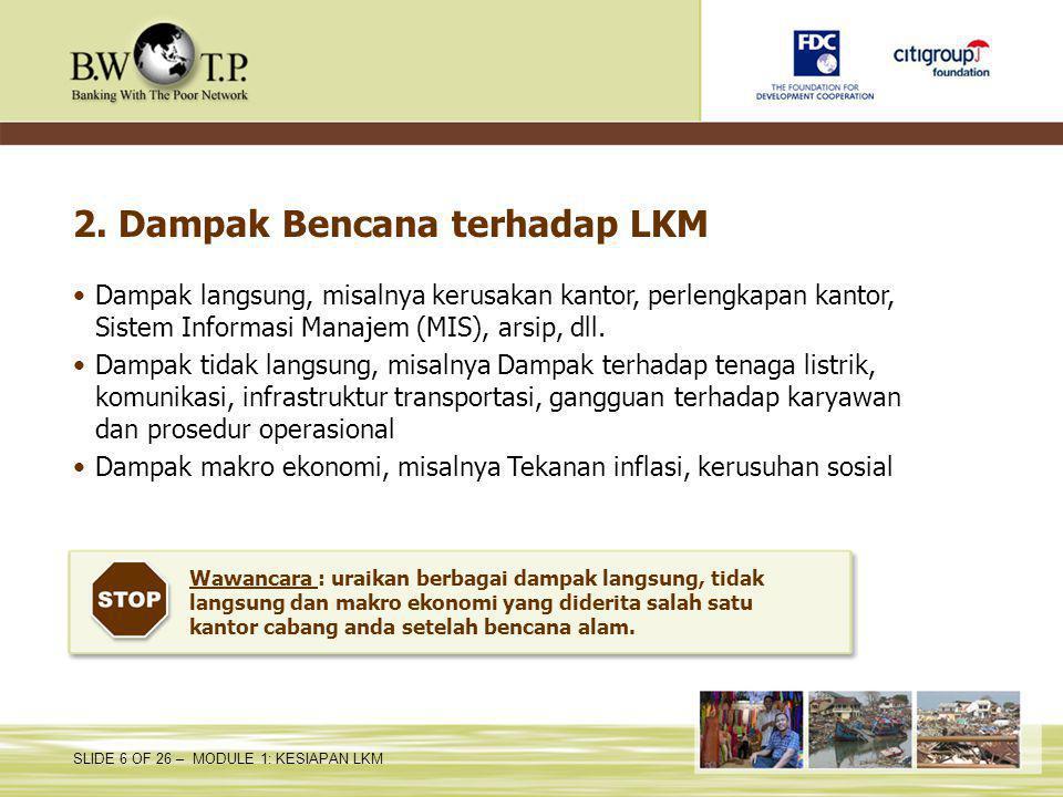 2. Dampak Bencana terhadap LKM