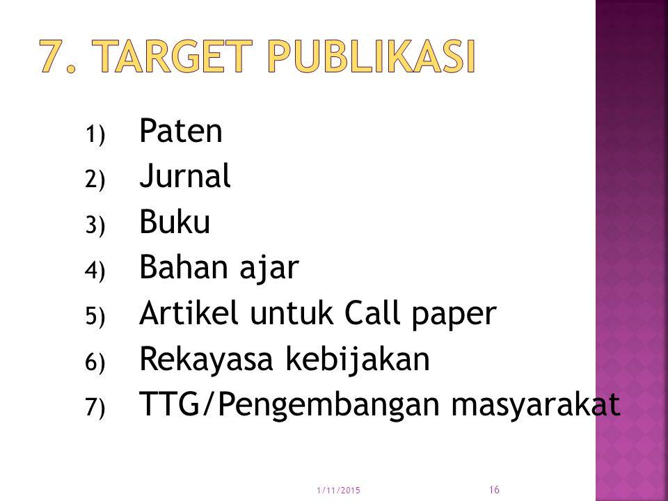 7. Target publikasi Paten Jurnal Buku Bahan ajar