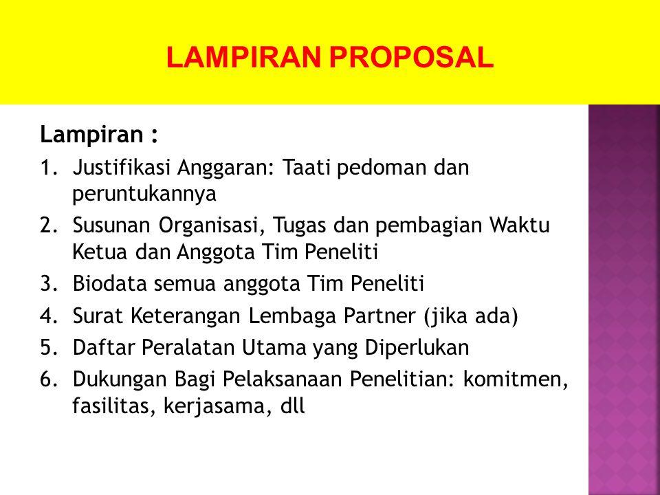 LAMPIRAN PROPOSAL Lampiran :