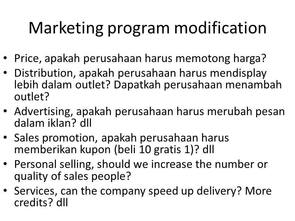 Marketing program modification