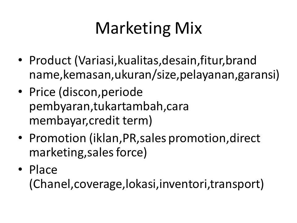 Marketing Mix Product (Variasi,kualitas,desain,fitur,brand name,kemasan,ukuran/size,pelayanan,garansi)