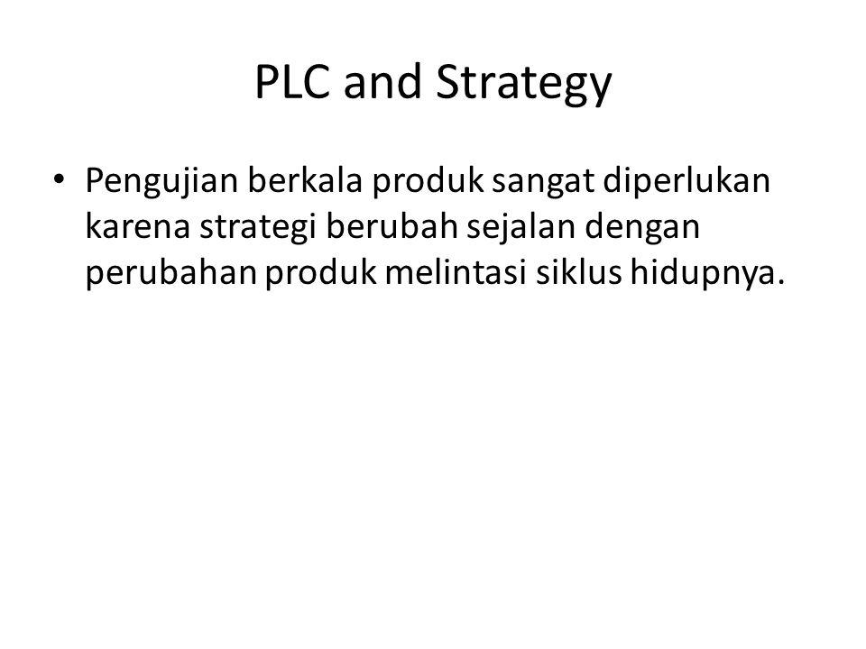 PLC and Strategy Pengujian berkala produk sangat diperlukan karena strategi berubah sejalan dengan perubahan produk melintasi siklus hidupnya.