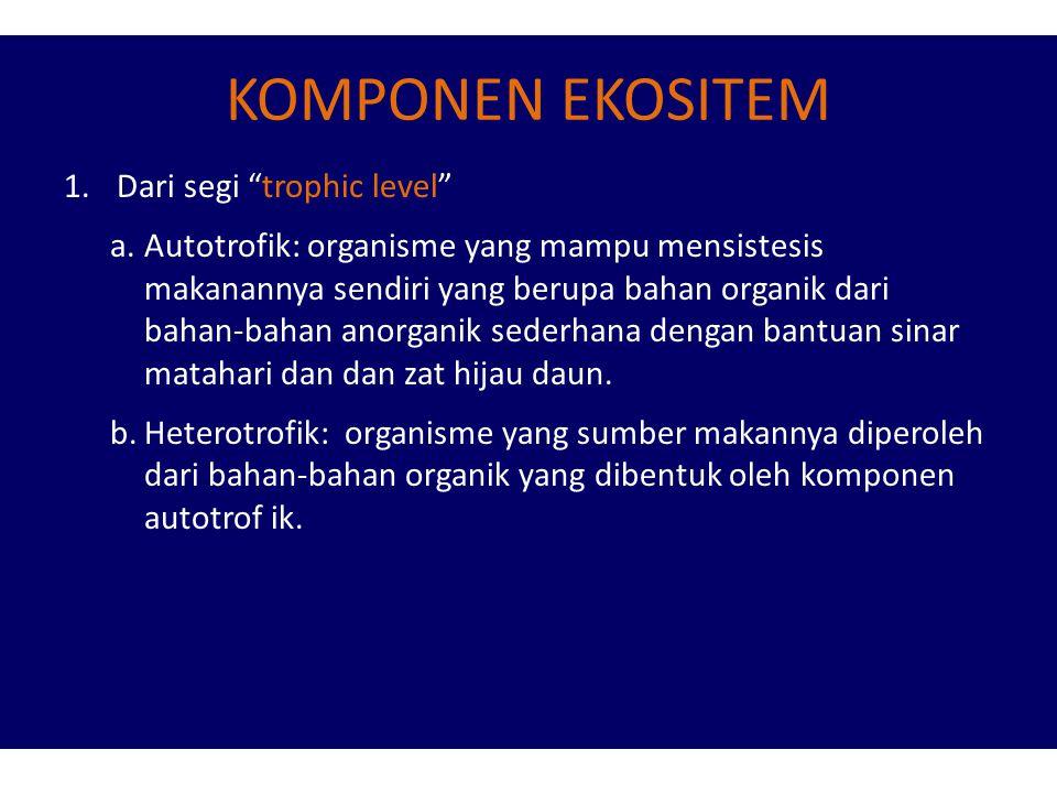 KOMPONEN EKOSITEM Dari segi trophic level