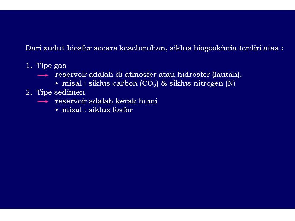 Dari sudut biosfer secara keseluruhan, siklus biogeokimia terdiri atas :