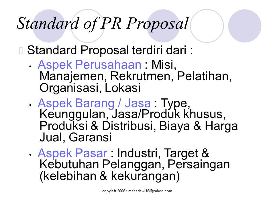 Standard of PR Proposal