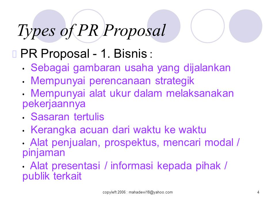 Types of PR Proposal ™ PR Proposal - 1. Bisnis :
