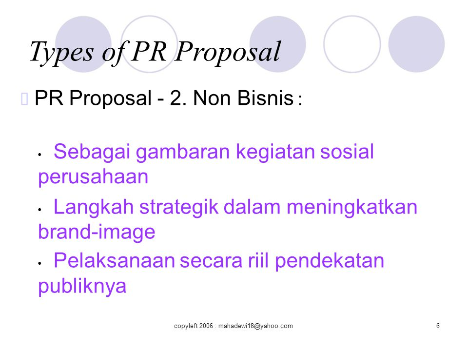 Types of PR Proposal ™ PR Proposal - 2. Non Bisnis :