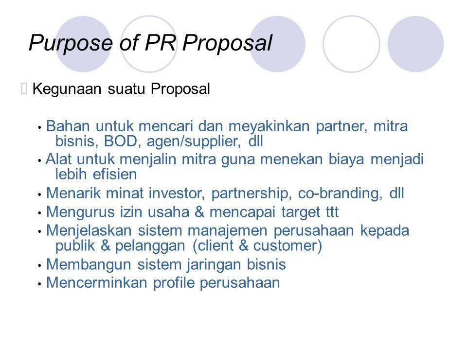 Purpose of PR Proposal ™ Kegunaan suatu Proposal