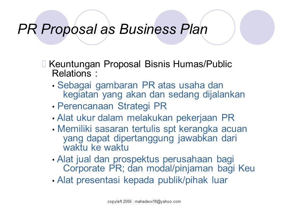 PR Proposal as Business Plan
