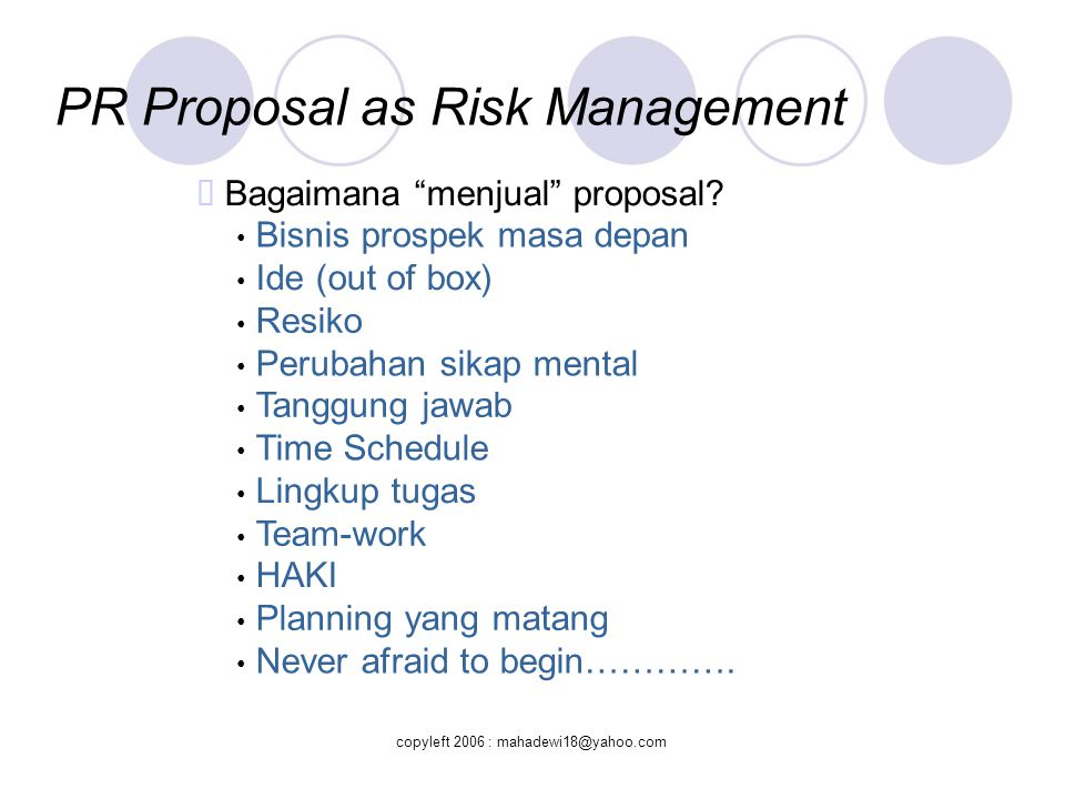 PR Proposal as Risk Management