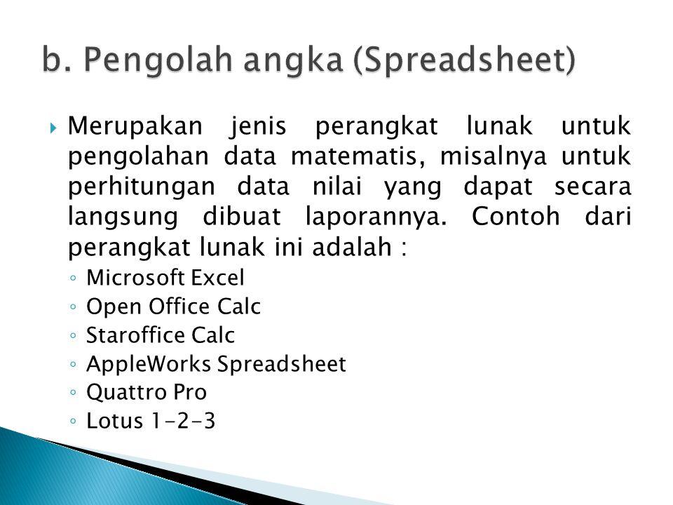 b. Pengolah angka (Spreadsheet)