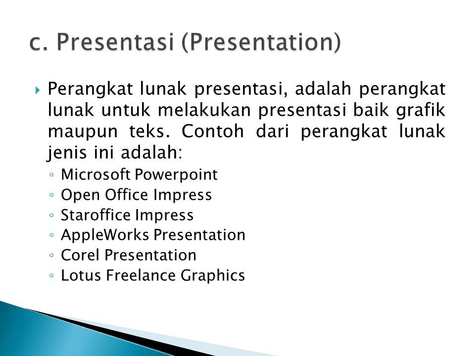 c. Presentasi (Presentation)