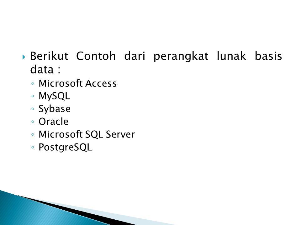Berikut Contoh dari perangkat lunak basis data :