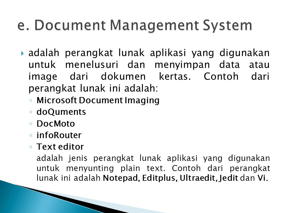 e. Document Management System