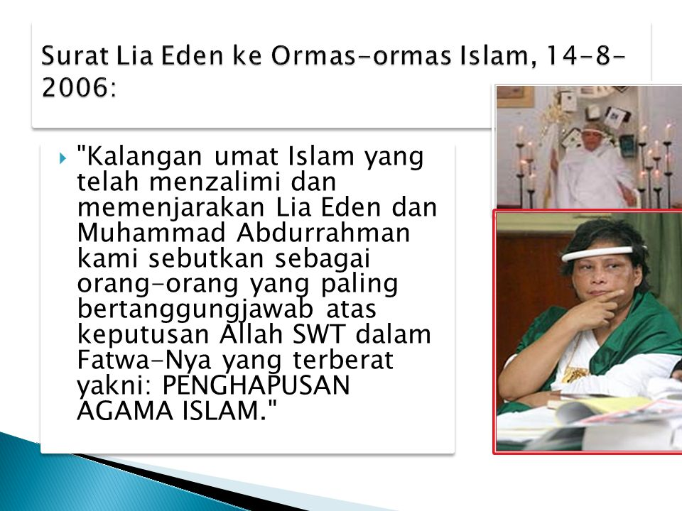 Surat Lia Eden ke Ormas-ormas Islam, 14-8-2006: