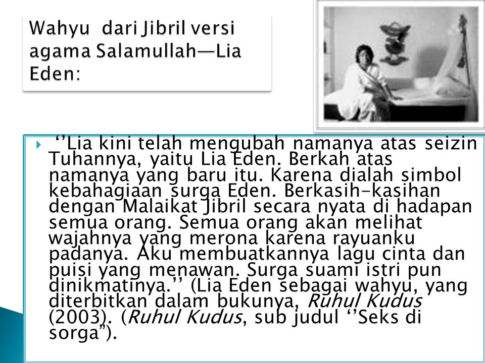 Wahyu dari Jibril versi agama Salamullah—Lia Eden: