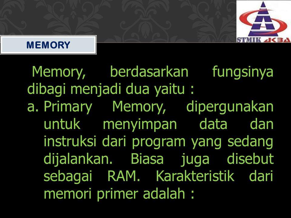Memory, berdasarkan fungsinya dibagi menjadi dua yaitu :