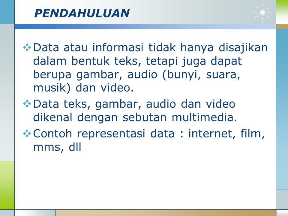 PENDAHULUAN Data atau informasi tidak hanya disajikan dalam bentuk teks, tetapi juga dapat berupa gambar, audio (bunyi, suara, musik) dan video.