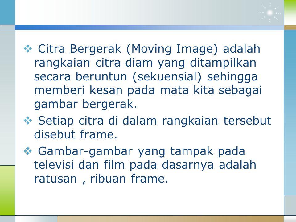 Citra Bergerak (Moving Image) adalah rangkaian citra diam yang ditampilkan secara beruntun (sekuensial) sehingga memberi kesan pada mata kita sebagai gambar bergerak.