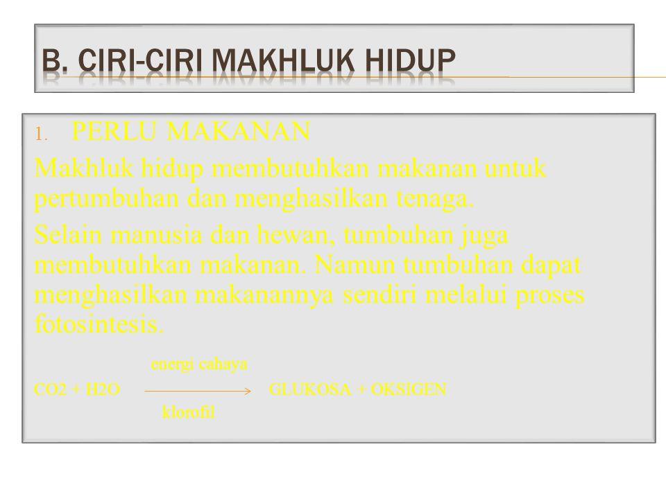 B. CIRI-CIRI MAKHLUK HIDUP