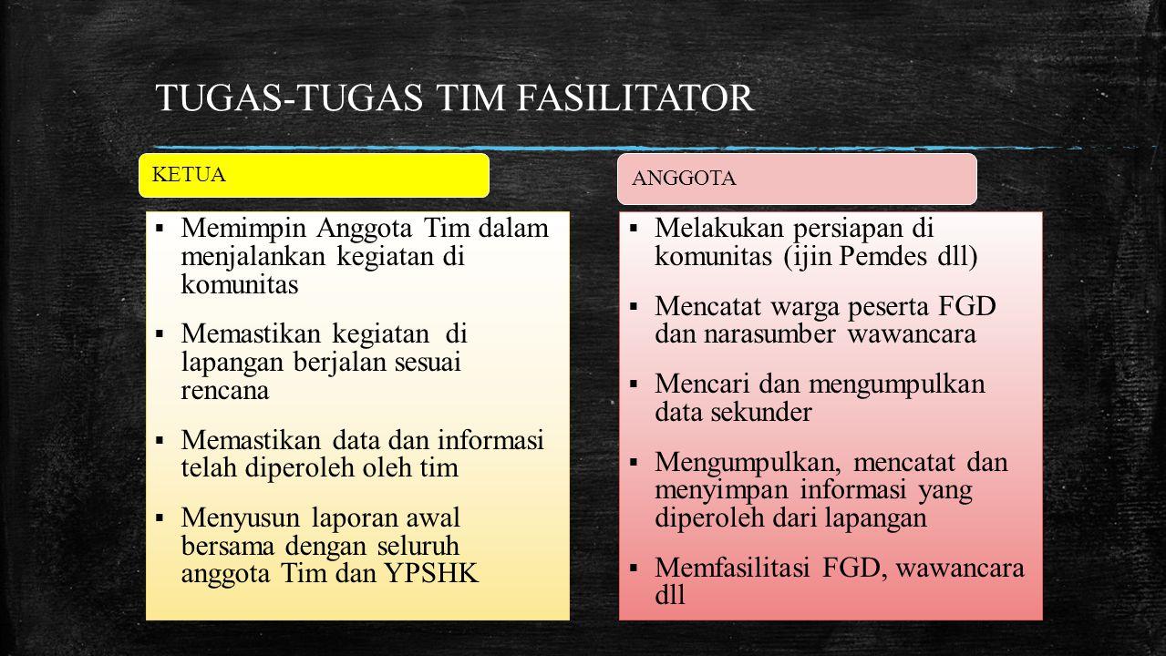 TUGAS-TUGAS TIM FASILITATOR