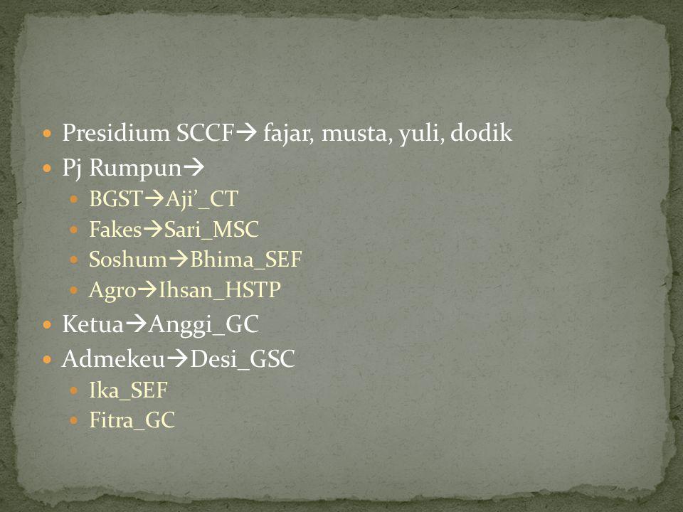 Presidium SCCF fajar, musta, yuli, dodik Pj Rumpun