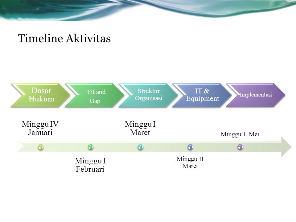 Timeline Aktivitas Fit and Gap Dasar Hukum Minggu IV Januari