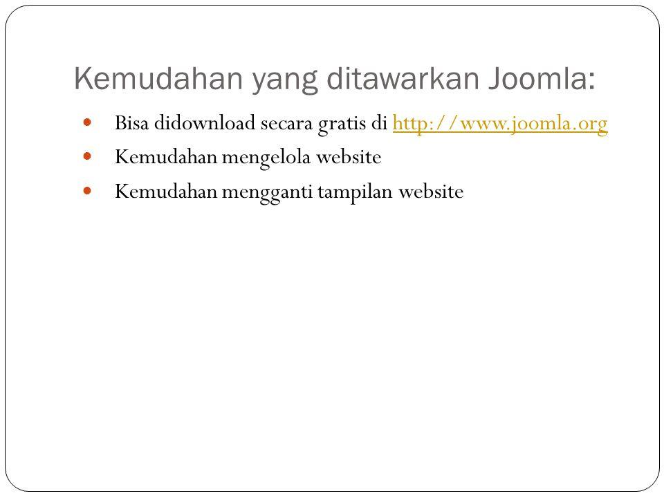 Kemudahan yang ditawarkan Joomla: