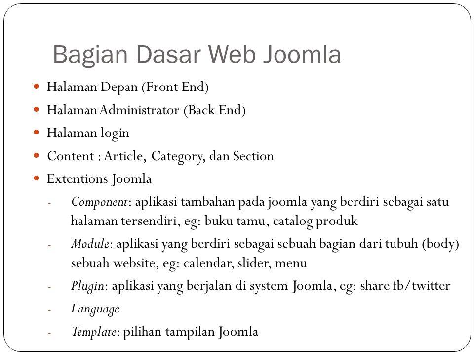 Bagian Dasar Web Joomla