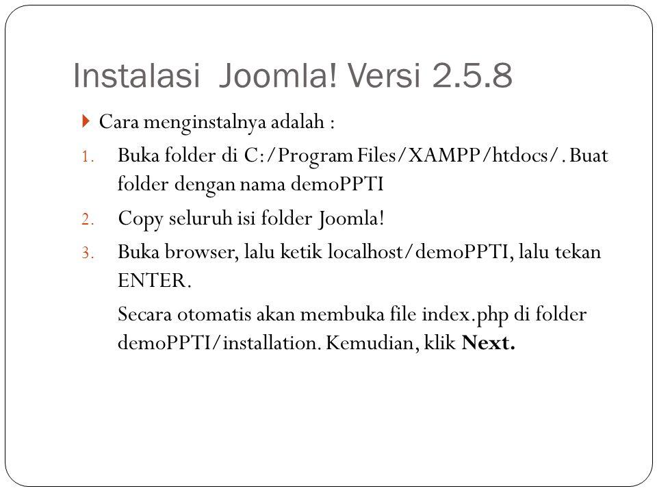 Instalasi Joomla! Versi 2.5.8