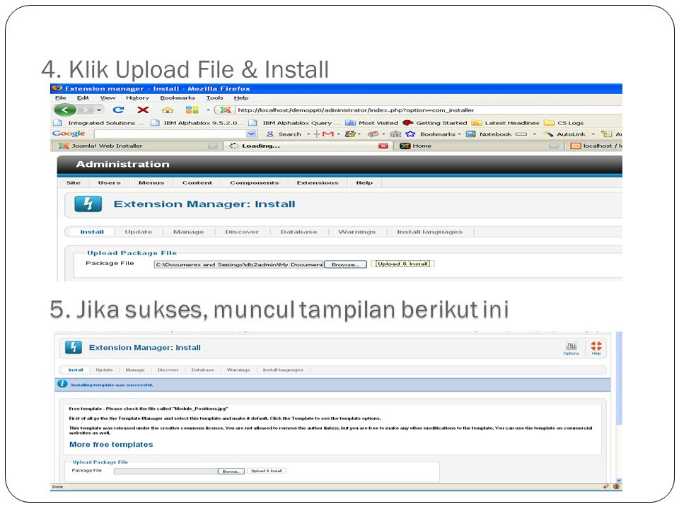 4. Klik Upload File & Install
