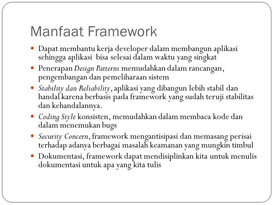 Manfaat Framework Dapat membantu kerja developer dalam membangun aplikasi sehingga aplikasi bisa selesai dalam waktu yang singkat.