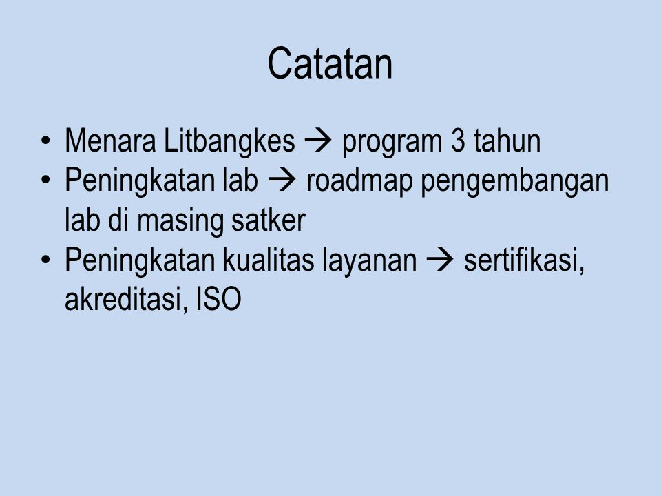 Catatan Menara Litbangkes  program 3 tahun