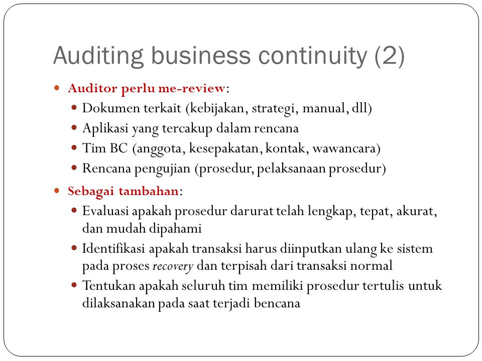 Auditing business continuity (2)