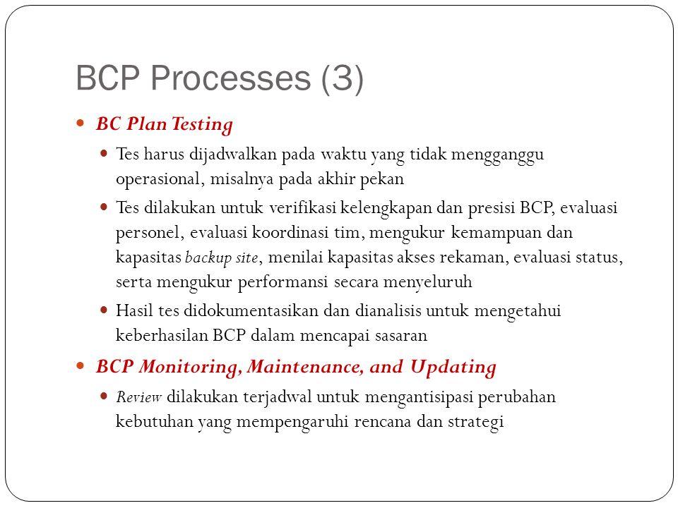 BCP Processes (3) BC Plan Testing