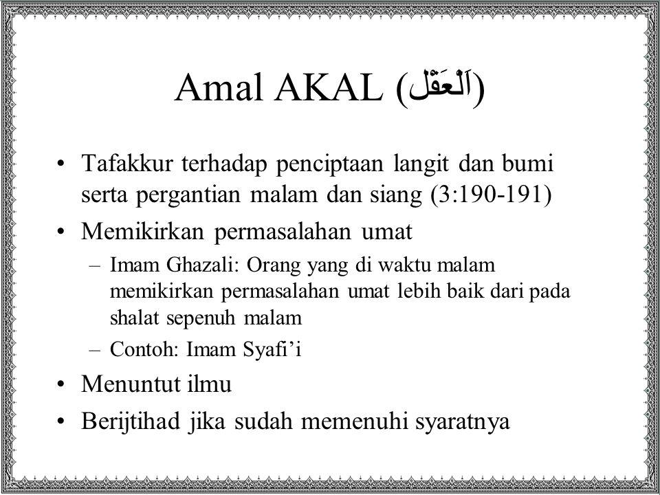Amal AKAL (اَلْعَقْل) Tafakkur terhadap penciptaan langit dan bumi serta pergantian malam dan siang (3:190-191)