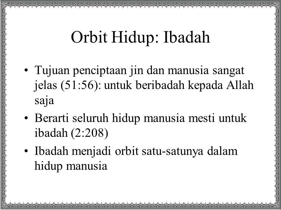 Orbit Hidup: Ibadah Tujuan penciptaan jin dan manusia sangat jelas (51:56): untuk beribadah kepada Allah saja.
