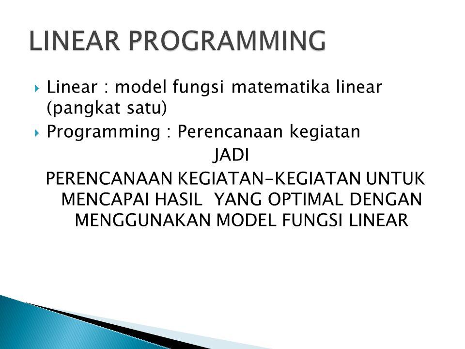 LINEAR PROGRAMMING Linear : model fungsi matematika linear (pangkat satu) Programming : Perencanaan kegiatan.