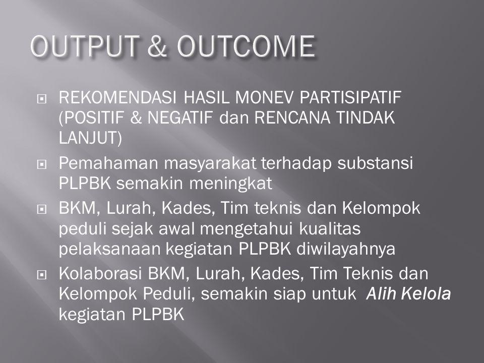 OUTPUT & OUTCOME REKOMENDASI HASIL MONEV PARTISIPATIF (POSITIF & NEGATIF dan RENCANA TINDAK LANJUT)