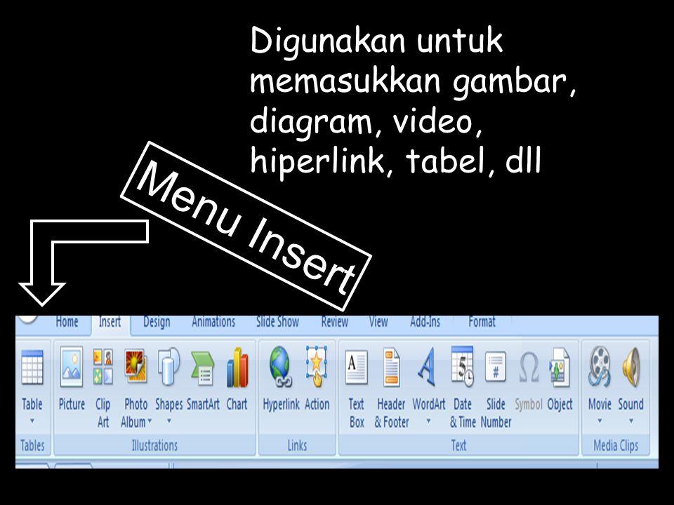 Digunakan untuk memasukkan gambar, diagram, video, hiperlink, tabel, dll