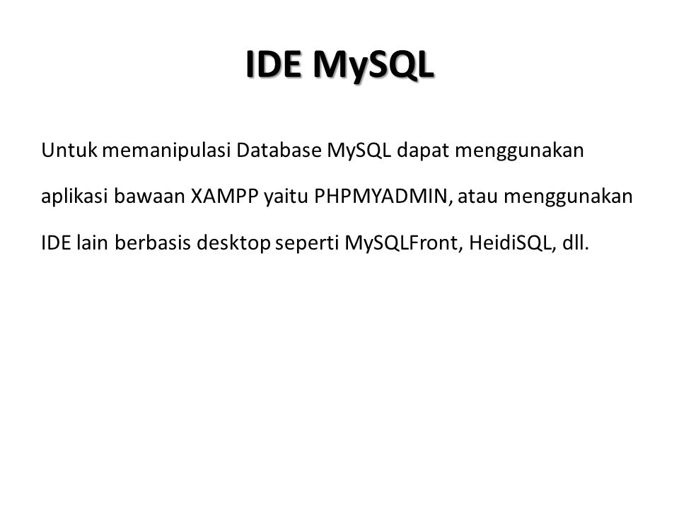 IDE MySQL